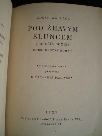 POD ŽHAVÝM SLUNCEM - Edgar Wallace